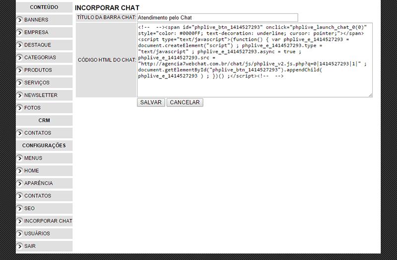 incorporar código html do chat
