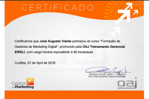 Certificado do Curso Online de Marketing Digital
