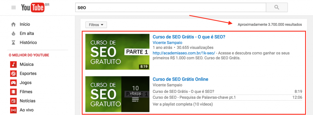 Curso de SEO Online no youtube